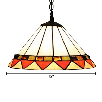Umbrella Shade White Stained Glass 16 Inch Hanging Pendant Lighting