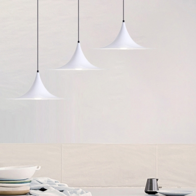 White Finish Flared Suspension Light Simple Modernism Aluminum 1 Bulb Pendant Lamp