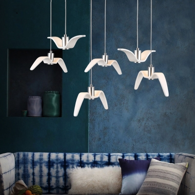 White Seagull Hanging Light Simple Resin 6 Light Decorative LED Cluster Pendant Light
