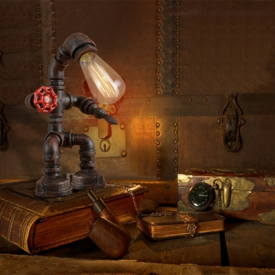 Wrought Iron Robot Table Lamp Industrial Single Bulb Desk Lamp for Restaurant Kids Room Living Room
