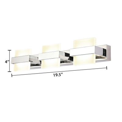 3/4 Lights Square Vanity Light Modern Acrylic Makeup Mirror Light for Bathroom in Neutral