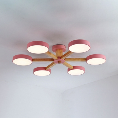 3/6 Lights Drum Ceiling Lamp Modern Fashion Living Room Acrylic Chandelier Light in Pink