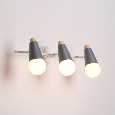 3 Lights Linear Sconce Light With Open Bulb Living Room Metallic Vanity Light in Blue/Gray