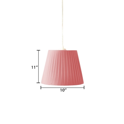 American Retro Bucket Suspended Light with Green/Pink Gathered Fabric Shade 1 Head Hanging Lamp