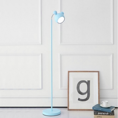 Cartoon Mouse 1 Head Floor Lamp Modern Design Blue/Pink/Yellow Metal Floor Light for Study Room