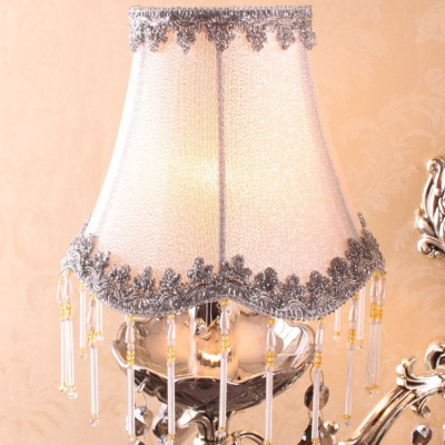 Embroidery Grey Fabric Shade and Crystal Dropsa Accented Sophisticated Two-light Wall Sconce Creating Glamorous Look