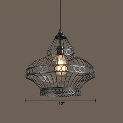 Industrial Hanging Pendant Light E26/E27 Lighting in Black with Vintage Lantern Shade