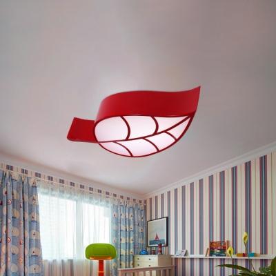 Macaron Colorful Leaf Lighting Fixture Amusement Park Kids Bedroom Metal LED Ceiling Light