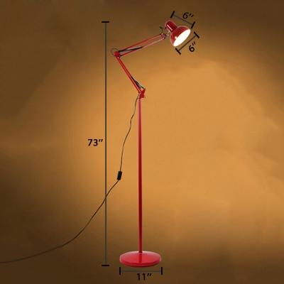 Metal Swing Arm Floor Light Simplicity Single Light Floor Lamp in Red/Yellow for Bedside