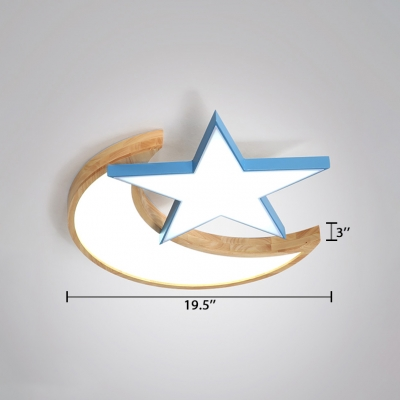 Moon and Star LED Flush Light Modern Blue/Pink Metal and Wood Ceiling Lamp for Children Room