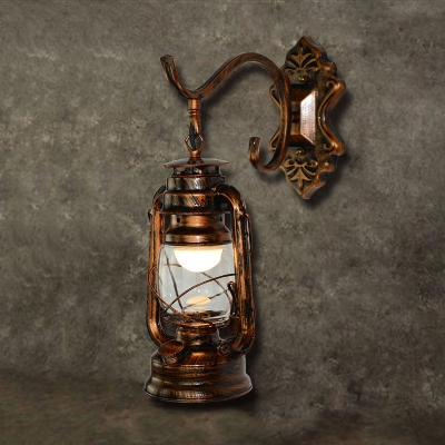 Nautical Style Lantern Wall Lighting Wrought Iron Single Head Wall Light Sconce in Antique Copper