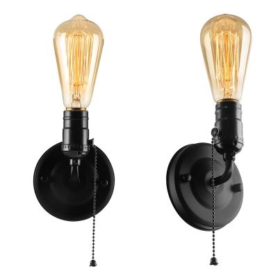 Open Bulb Mini Sconce Lighting Retro Metallic 1 Head Pull Chain Wall Light in Black/Bronze/Brass/Chrome