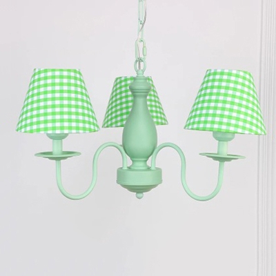 Shaded Chandelier Light with Trellis Pattern Retro Style Fabric 3 Lights Hanging Light in Green Finish