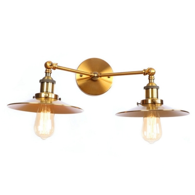 Shallow Round Flared Sconce Light Retro Style Iron 2 Bulbs Wall Lamp in Brass Finish, HL498764