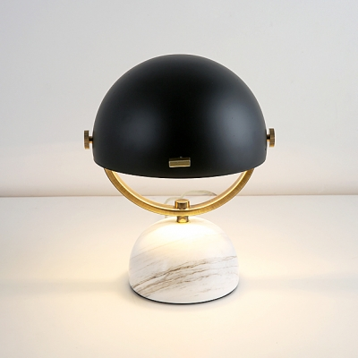 Small Half Globe Desk Lamp Concise Minimalist Metal Night Light in Black with Marble Base