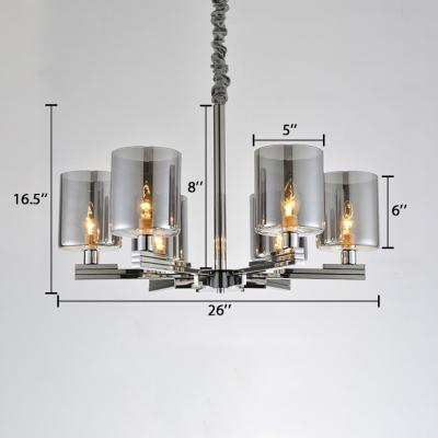 Smoke Glass Cylinder Suspended Lamp Post Modern 6 Lights LED Hanging Chandelier