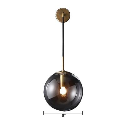 Smoke Glass Globe Lighting Fixture Minimalist 1 Head Suspender Wall Light for Coffee Shop