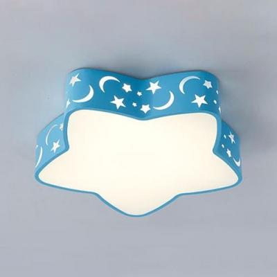 Star Shade LED Flush Light Macaron Modern Boys Girls Bedroom Blue/Pink Metal Ceiling Light