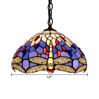 Tiffany Style Pendant Light Colorful Dragonfly Glass Lamp Shade in Dome Shaped, 12
