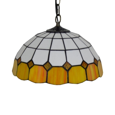White Stained Glass Style 12 Inch Tiffany Hanging Pendant Lighting