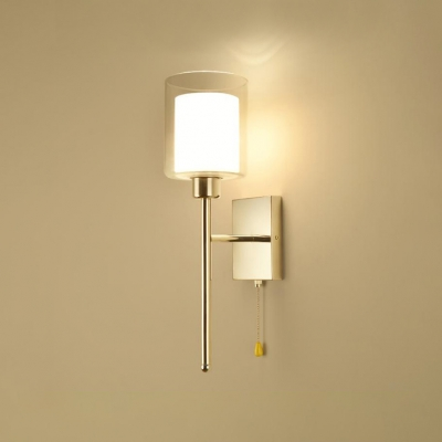 1 Bulb Inner Glass Shade Wall Lamp Concise Stylish Stainless Wall Light Fixture for Corridor