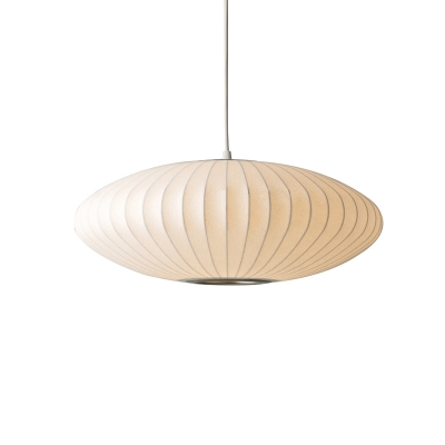 1 Head Cocoon Ceiling Pendant Lamp Contemporary Fabric Art Deco Suspended Light in White
