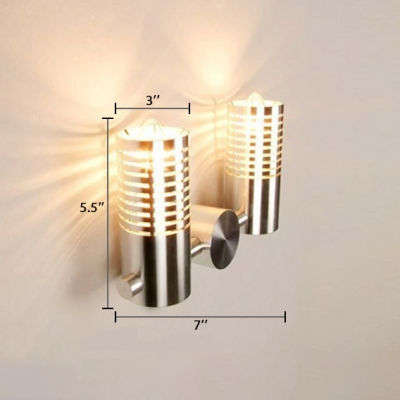 2 Heads Cylinder Wall Mount Light Modern Metal Single Light Wall Sconce in Warm/White