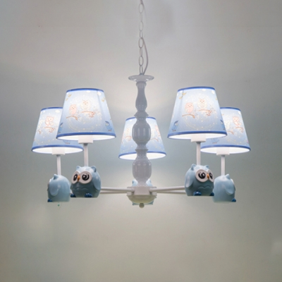 3/5 Lights Tapered Chandelier with Cartoon Owl Nursing Room Suspension Light in White with Fabric Shade