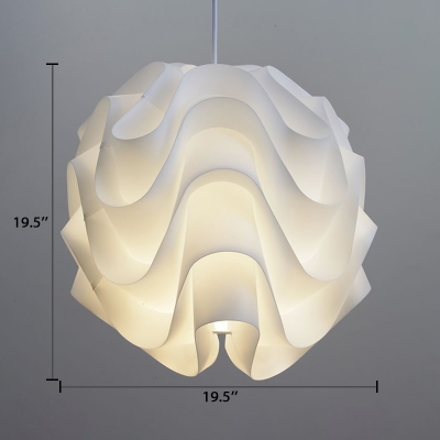 Acrylic Floral Suspension Light Designers Style Plastic Drop Light in White for Coffee Shop