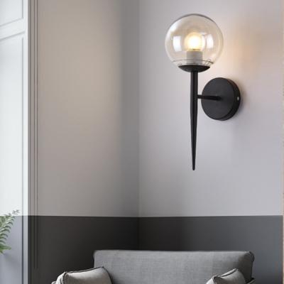Black Finish Sphere Sconce Lighting Designer Style Glass Shade 1 Bulb Wall Lamp for Corridor