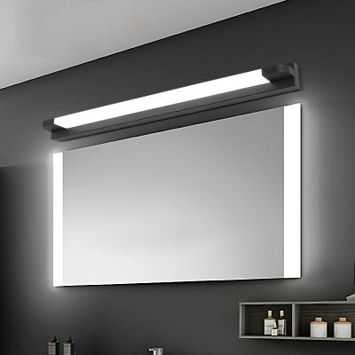 Black Straight Bar Mirror Light Modern Acrylic Cosmetic