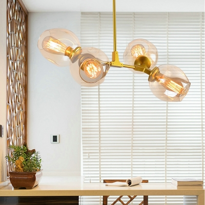 Bubble Ceiling Lamp Designers Style Metal 4 Light Drop Lamp in Gold for Living Room