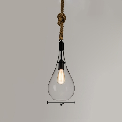 Clear Gl Led Mini Pendant Light Restaurant Lighting Fixture With Rope Accent