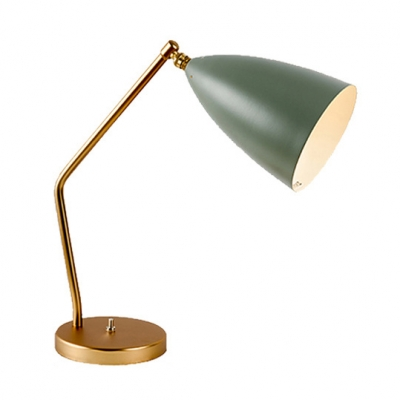Cone Shade Table Light Simplicity Concise Metal 1 Light Reading Lamp with Metal Base