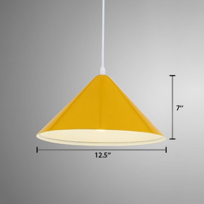 Conical Lighting Fixture Colorful Modern Metallic 1 Light Pendant Light for Children Room