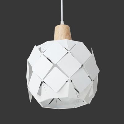 Contemporary Bucket Hanging Light Steel 1 Head LED Pendant Lamp in White for Restaurant
