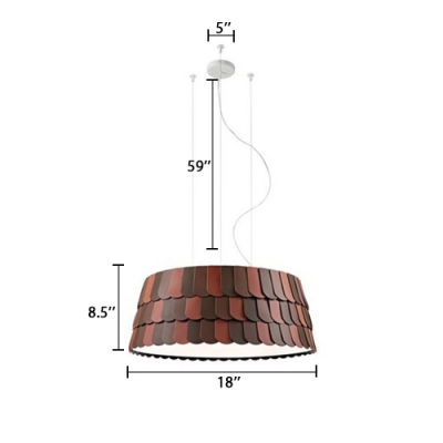 Designers Style Roofer Drop Light Modern Fashion Iron 5/6 Bulbs Suspension Light in Dark Red