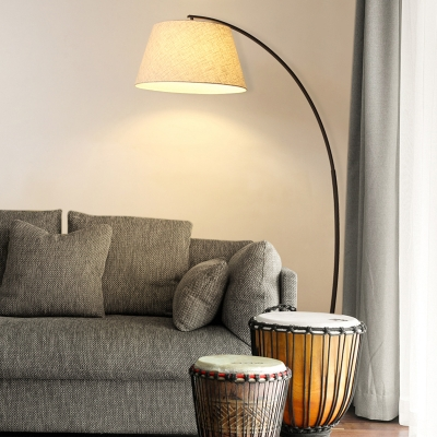 Fabric Arched Floor Light Modern Simple Floor Lamp in White for Living