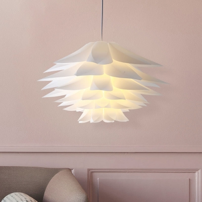 Floral Shape Suspended Lamp Modern Design Plastic LED Pendant Light in White for Sitting Room