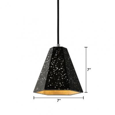 Geometric Ceiling Lamp Craftsman Designers Style Concrete Suspended Light in Black