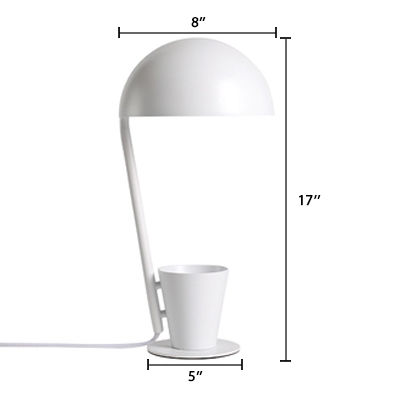 Half Sphere Shade Desk Lamp Contemporary Metal Desk Light with Cup Decorative in White
