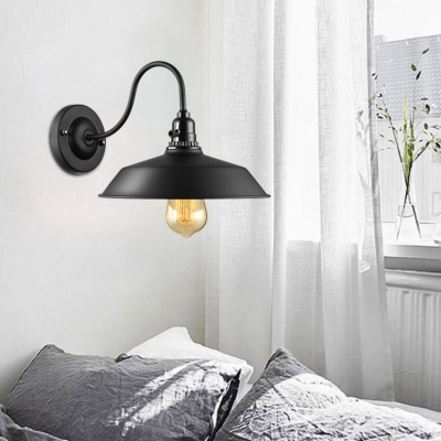 Industrial Wall Sconce with Gooseneck Fixture Arm in Barn Style, Black