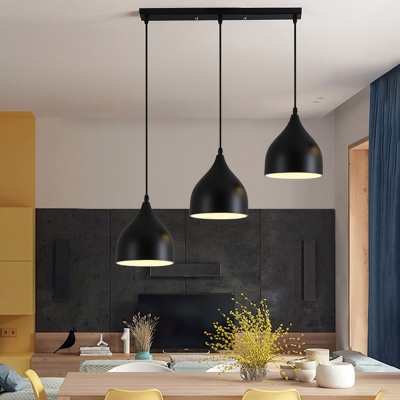 Linear 3 Light Track Light Vintage Metal Pendant Light in Dome for Kitchen Island Pool Table