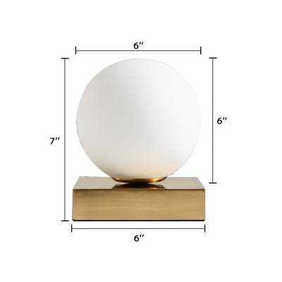 Milky Glass Ball Table Lamp Modern Fashion 1 Head Desk Lamp with Rectangle Metal Base