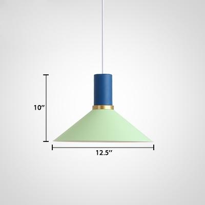 Mint Green Flask Suspended Lamp Modern Fashion Metallic 1 Light Lighting Fixture