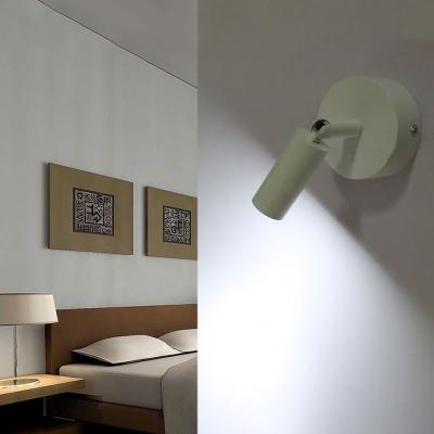 Modern Simple Tubed Wall Mount Light Metallic Single Light Mini LED Wall Light in White