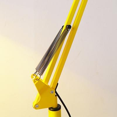 Modernism Conical Floor Lamp Metallic 1 Light Floor Light with Swing Arm in Red/Yellow