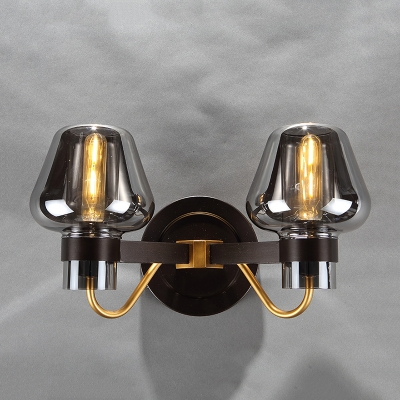 Mushroom Wall Light Fixture Designer Style Smoke Glass 2 Heads Wall Mount Light for Coffee Shop