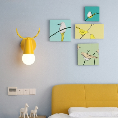 Rotatable Antler Wall Mount Light Colorful Simple Boys Girls Room Metal 1 Light Sconce Lighting