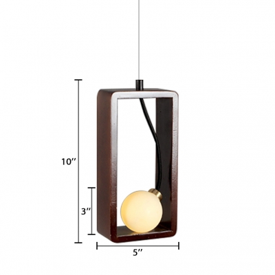 Walnut Geometric LED Hanging Pendant Light Nordic Style Single Head Pendant Fixture for Bedside Restaurant